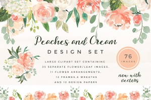 Peaches & Cream Flower Graphic Set