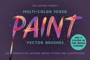 Multi-Colour Mixed Paint Brushes