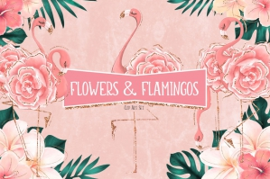 Tropical Flowers & Flamingos