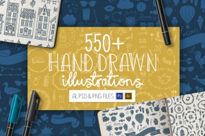 550+ Hand Drawn Illustrations