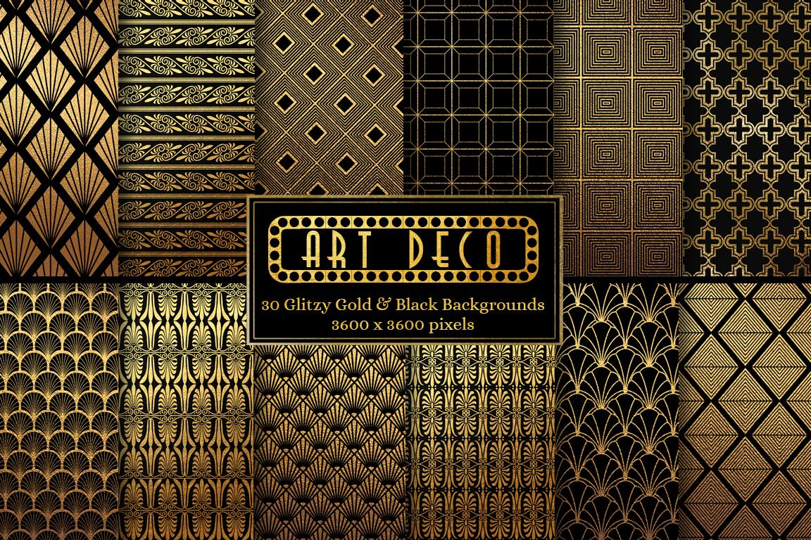 Art Deco Black and Gold Patterns