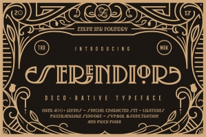 Serendior | Art Deco Font & Seamless Patterns