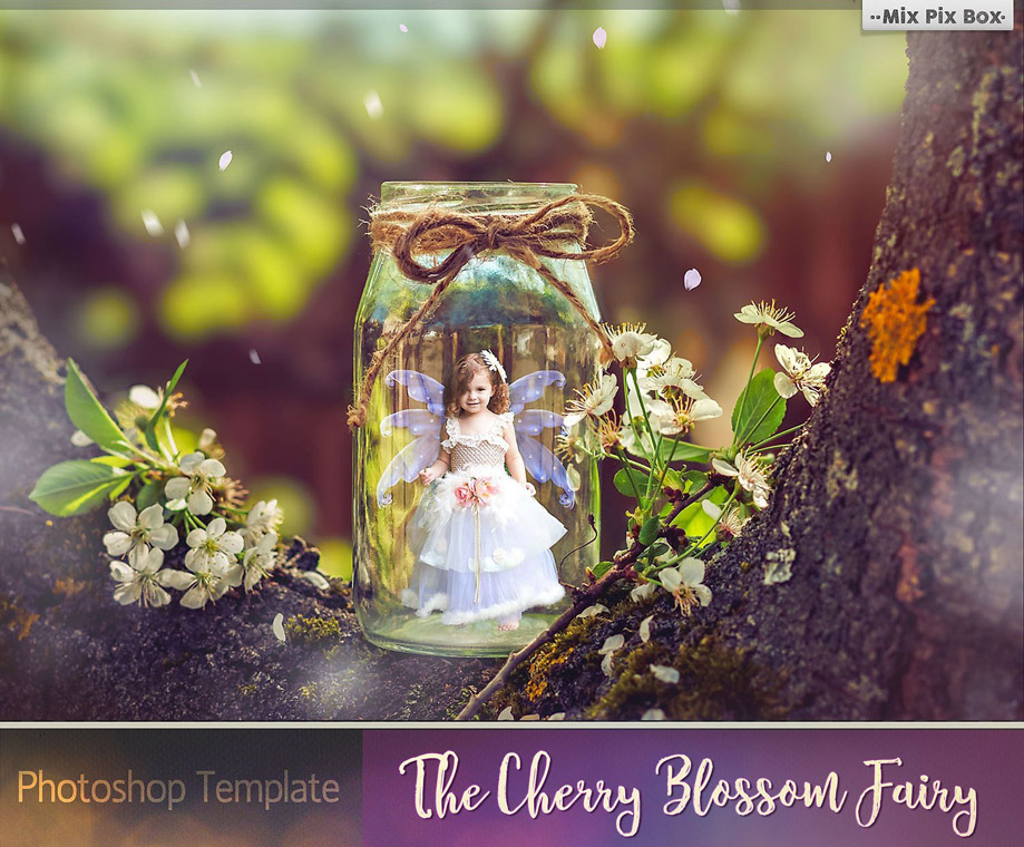 The Cherry Blossom Fairy Photoshop Template