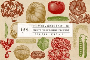 Vintage Vector Fruit Vegetables & Flowers