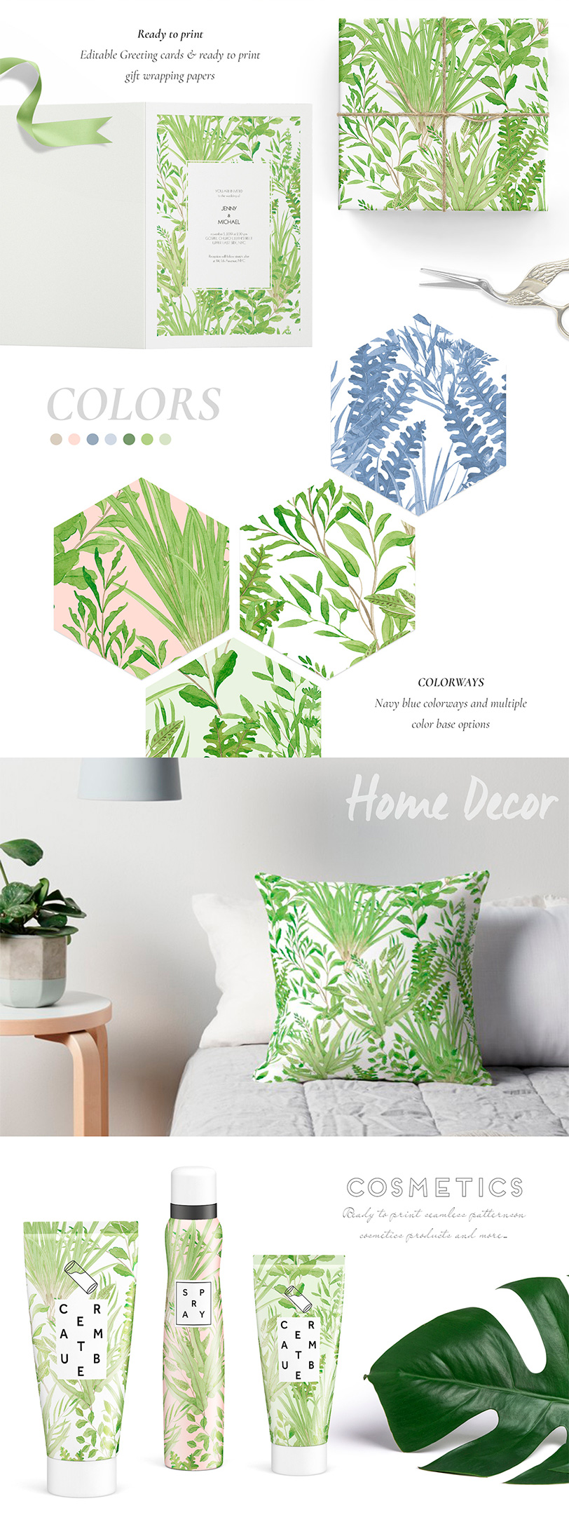 Lush, Fresh watercolor Seamless patterns & Motifs!