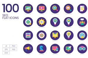 100 SEO and Marketing Flat Icons