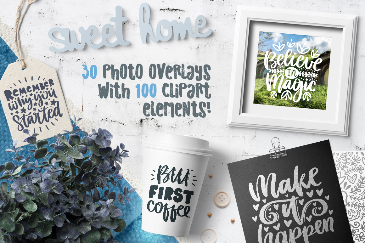30 Lettering Posters with Clipart
