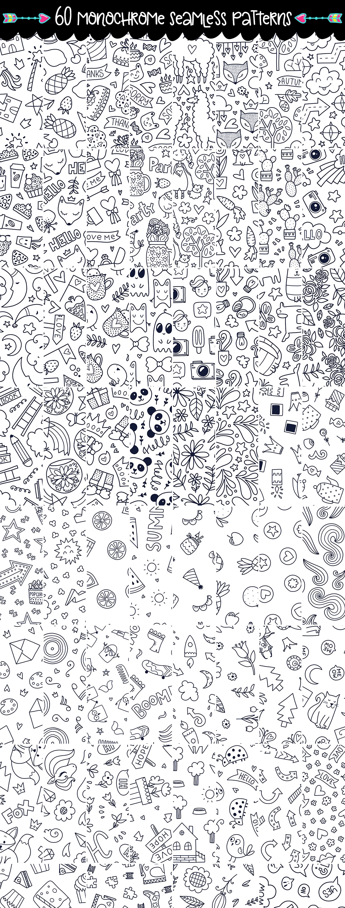 645 Doodles and Patterns - Clipart Set