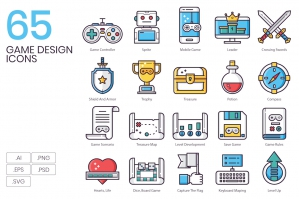 65 Game Design Icons