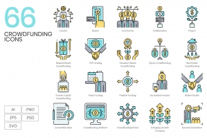 66 Crowdfunding Icons