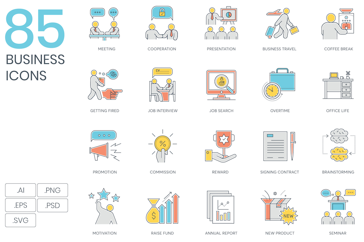 85 Business Color Line Icons