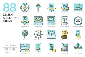 88 Digital Marketing Icons