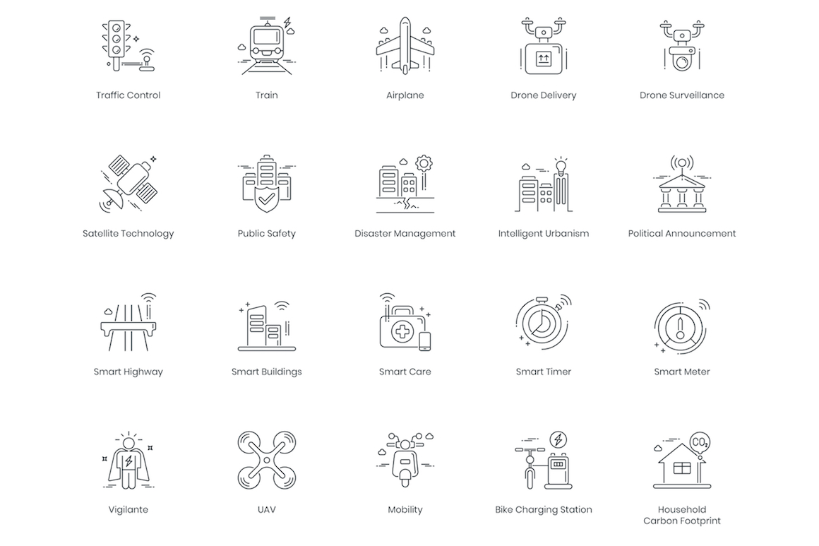 88 Smart Technology Line Icons