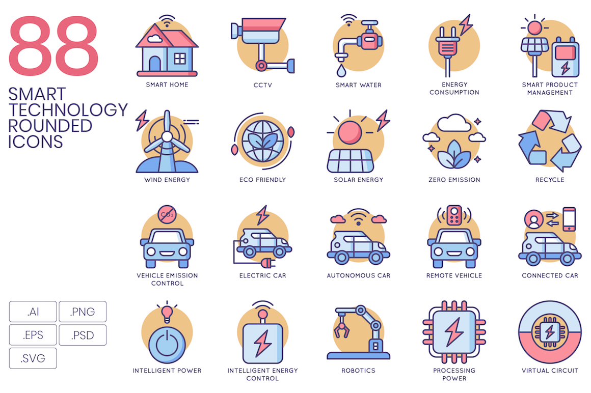 88 Smart Technology Rounded Icons