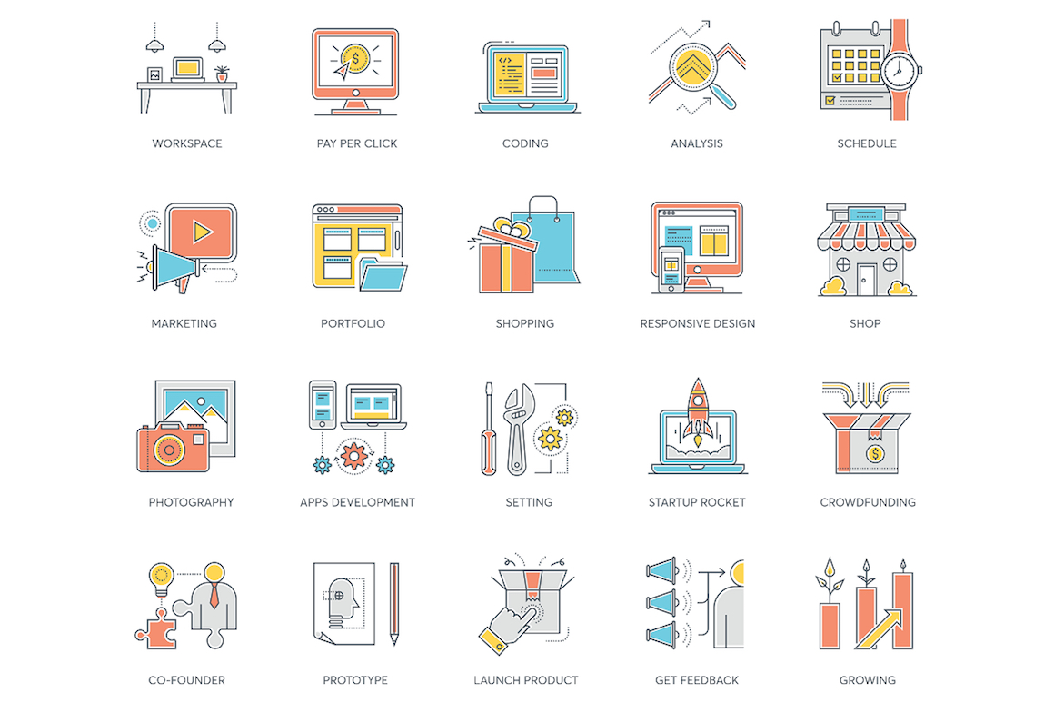 89 Startup Color Line Icons