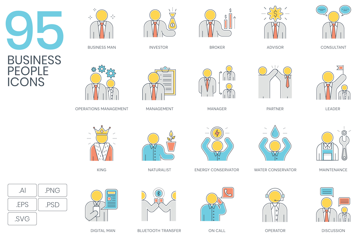 95 Business People Color Line Icons