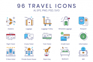 96 Travel Icons