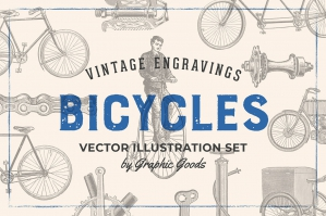 Bicycles - Vintage Engraving Illustration Set