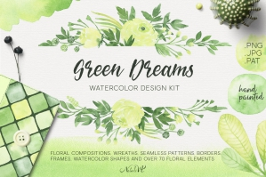 Green Dreams Watercolor Design Kit