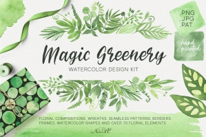 Magic Greenery Watercolor Design Kit