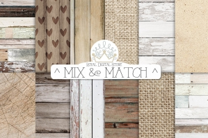 Neutral Wood And Burlap Digital Textures