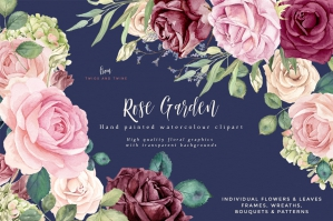 Rose Garden - Detailed Flower Clipart Set