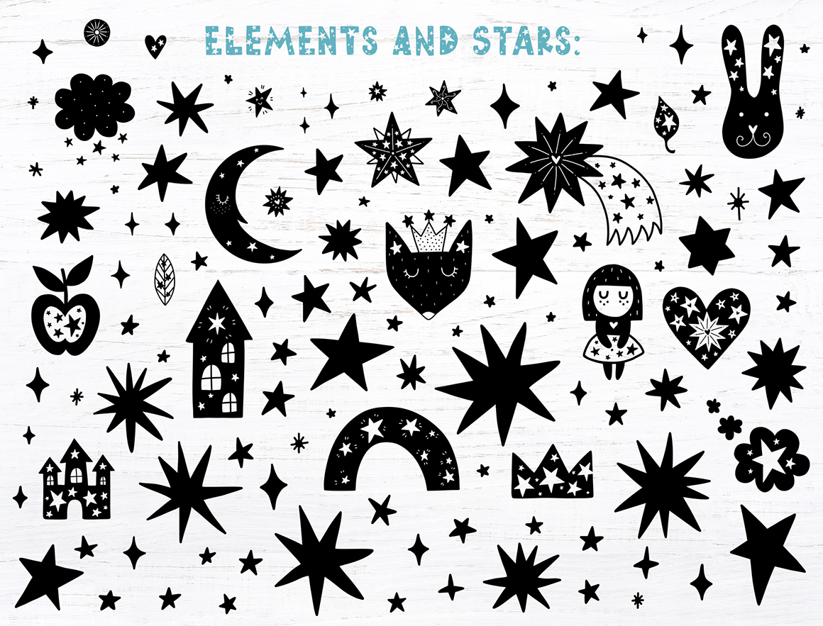 Starry Typeface - Font with Clipart