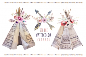 Watercolor Boho Teepee and Bouquets