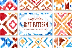 Watercolor IKAT Patterns