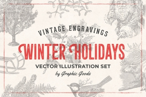 Winter Holidays - Vintage Engraving Illustrations