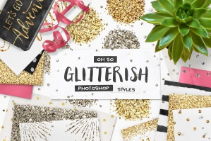 100 Glitter Photoshop Layer Styles + Bonus
