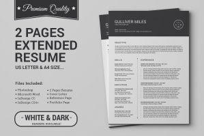 2 Pages Resume CV - Extended Pack