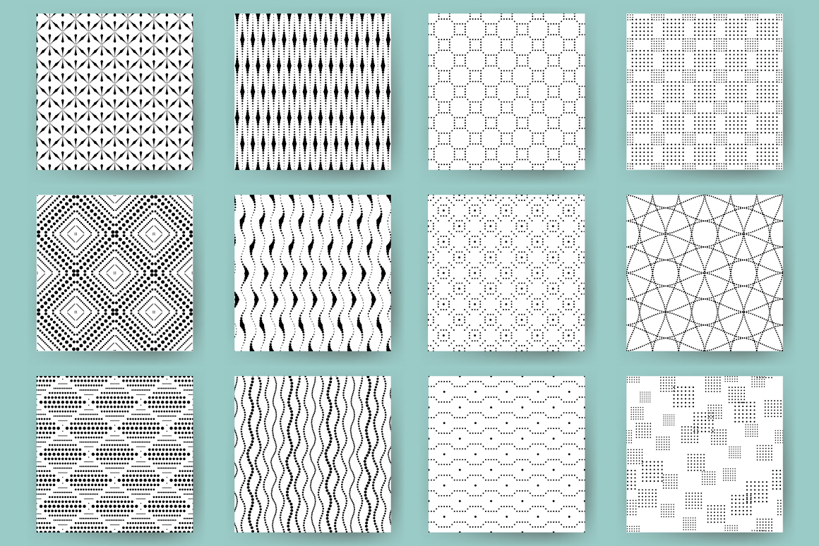 36 Black and White Abstract Seamless Patterns