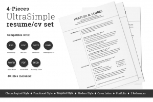 4 Pieces Resume/CV Set Template