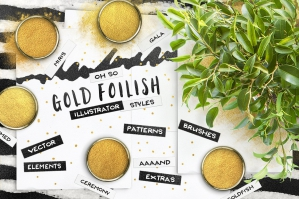 80 Illustrator Gold Foil Swatches + Extras