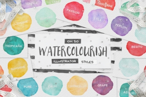 90 Watercolor Illustrator Styles + Extras
