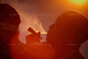 San People Smoking In Botswana