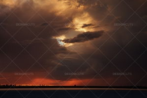 Dramatic Clouds Over Kalahari Desert Sunset