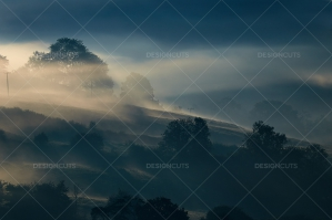 Misty British Country Hillsides At Dawn No. 18
