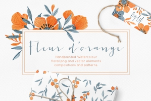 Floral Watercolor Graphics Bundle - Fleur d'Orange