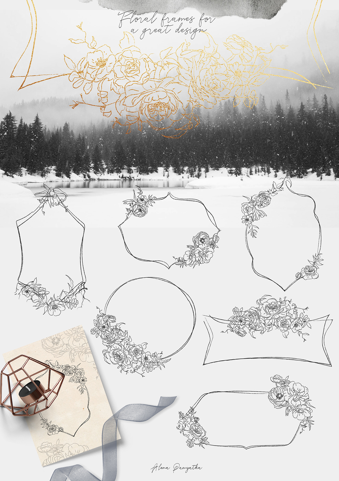 Floral and Animals. Winter Graphic Illustrations.