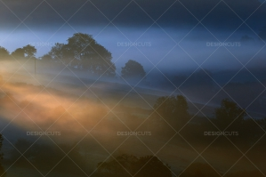 Misty British Country Hillsides At Dawn No. 1