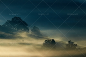 Misty British Country Hillsides At Dawn No. 10