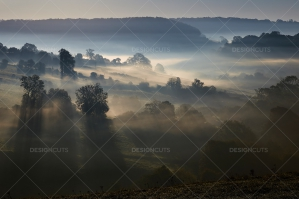 Misty British Country Hillsides At Dawn No. 12