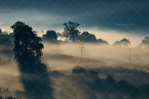 Misty British Country Hillsides At Dawn No. 13