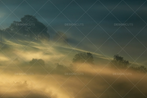Misty British Country Hillsides At Dawn No. 14