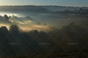 Misty British Country Hillsides At Dawn No. 15