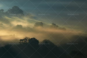 Misty British Country Hillsides At Dawn No. 2