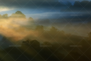 Misty British Country Hillsides At Dawn No. 3