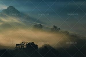 Misty British Country Hillsides At Dawn No. 6